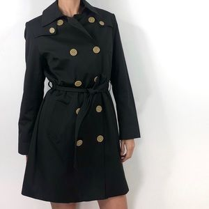 Jones New York Black Classic Belted Trench Coat